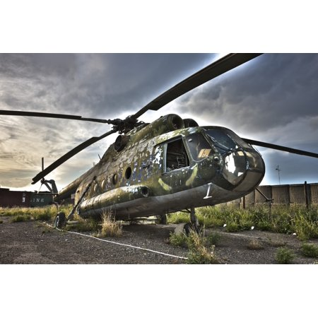 Hdr Image Of An Afghanistan National Army Mil Mi 17 Helicopter Canvas Art   Terry Moorestocktrek Images  35 X 23