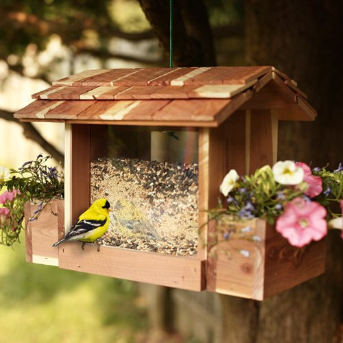 Woodlore Cedar Birdfeeder with Planters by Woodlore