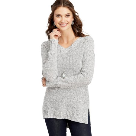 maurices Open Back Tunic Sweater - Women's Gray Top with Bar Detail