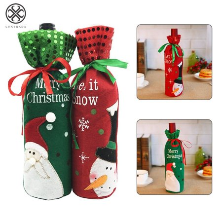 Luxtrada Santa Claus Christmas Drawstring Red Wine Bottle Cover Bags for Home Dinner Party Decoration Table Decor X-Mas Gift (Red) ()