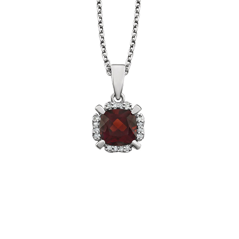 Cushion Mozambique Garnet & Diamond 14k White Gold Necklace, 18 Inch by Black Bow Jewelry Company
