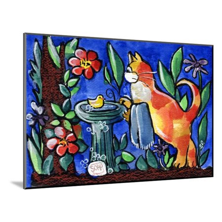 Tabby Cat with Rubber Duck Wood Mounted Print Wall Art By sylvia - Wood Duck Pictures