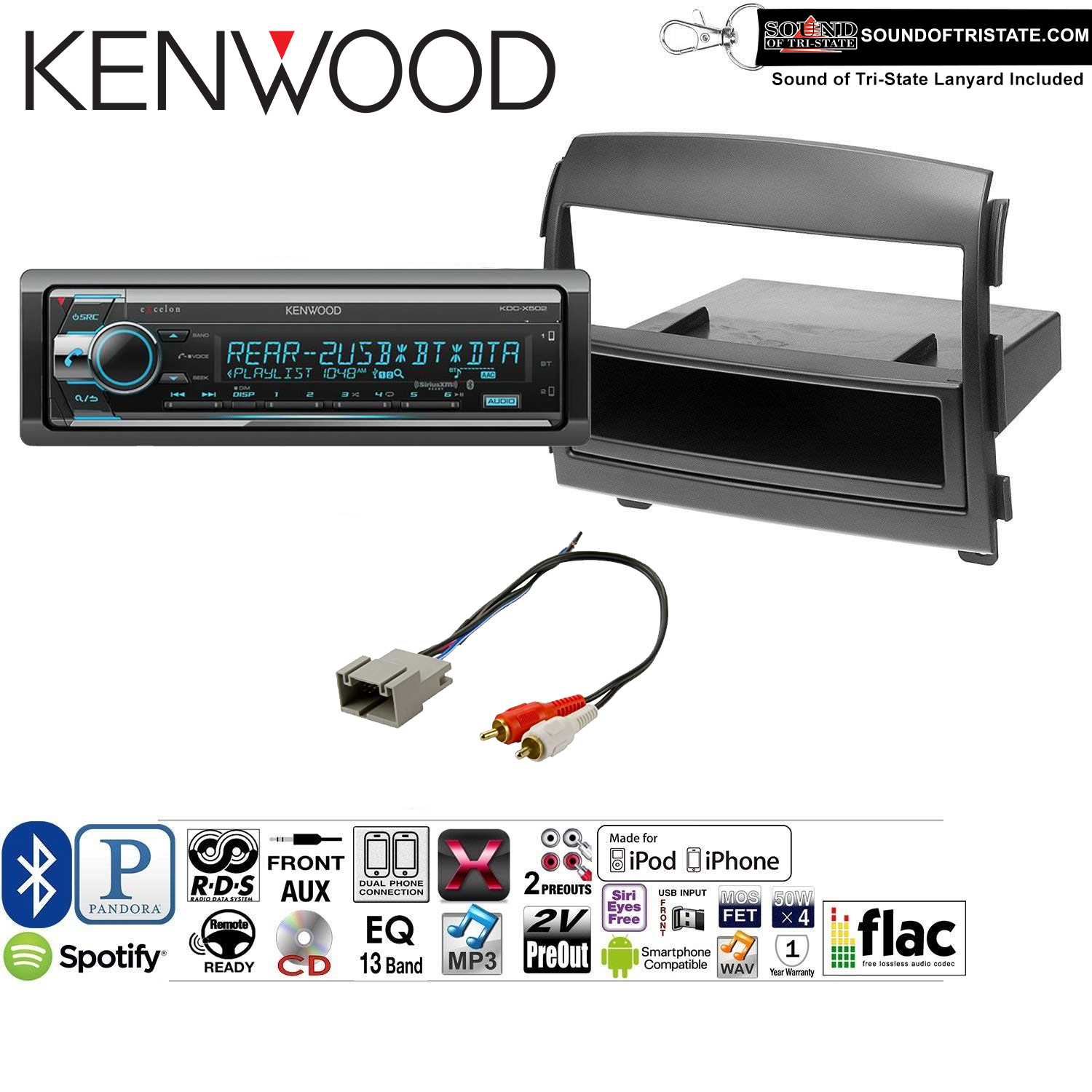 Kenwood KDCX502 Double Din Radio Install Kit with Bluetooth, CD Player, USB/AUX Fits 2006-2008 Hyundai Sonata(NON AMPLIFIED ONLY) and a SOTS lanyard included