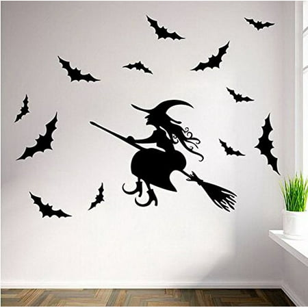 Decal ~ Flying Witch and Bats ~ HALLOWEEN: WALL OR WINDOW DECAL, Witch and 12 Bats](Halloween Iron On Decals)