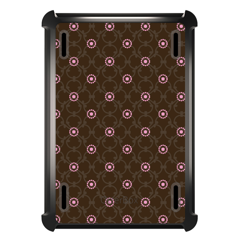 CUSTOM Black OtterBox Defender Series Case for Apple iPad Mini 4 - Brown & Pink Floral Pattern
