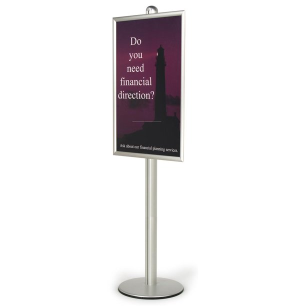 Sign Stand For 24 X 36 Poster Front Loading Frame Is Height Adjustable Along The Pole Floor Standing Poster Holder Silver Brushed Aluminum Bp2436 Walmart Com Walmart Com