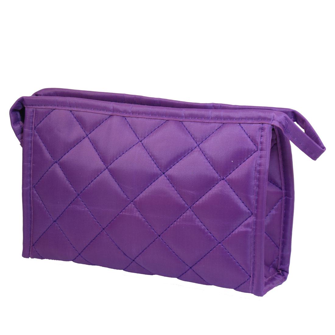 Las Women Purple Cosmetic Zippered Purse Makeup Bag Holder 7 5 X 1