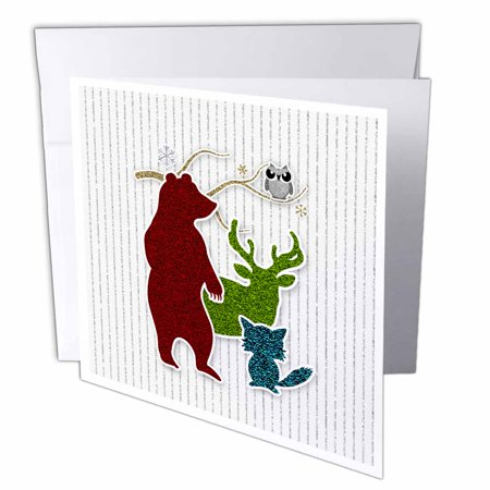 3drose woodland creatures peace on earth glitter wild animals 3drose woodland creatures peace on earth glitter wild animals christmas greeting cards 6 x m4hsunfo