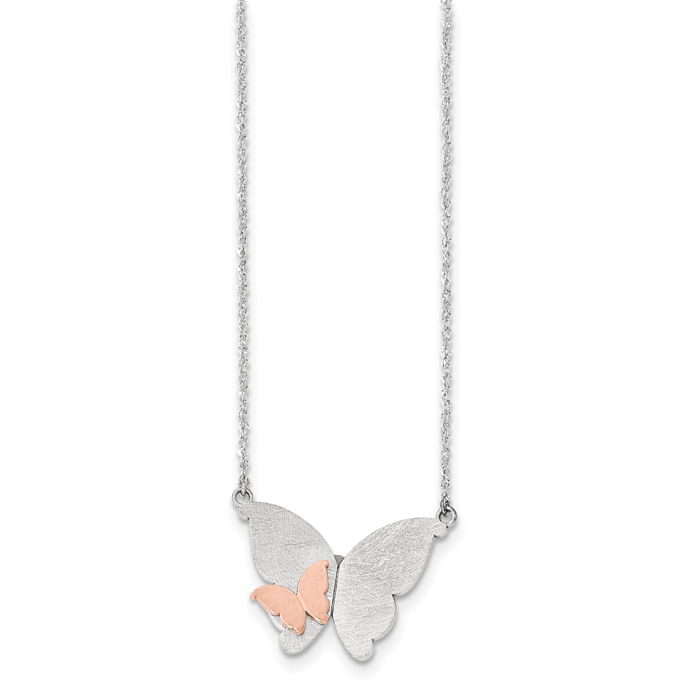 Q-Gold Roy Rose Jewelry 14K Two-tone Gold Butterfly Neckl...