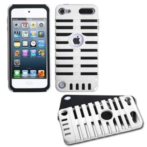 Insten White/Black Microphone Fusion Case for APPLE: iPod touch (5th 6th Gen 5 6)