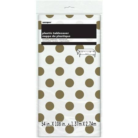 (3 Pack) Plastic Gold Polka Dot Table Cover, 108