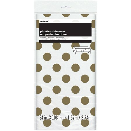 (3 Pack) Plastic Gold Polka Dot Table Cover, 108