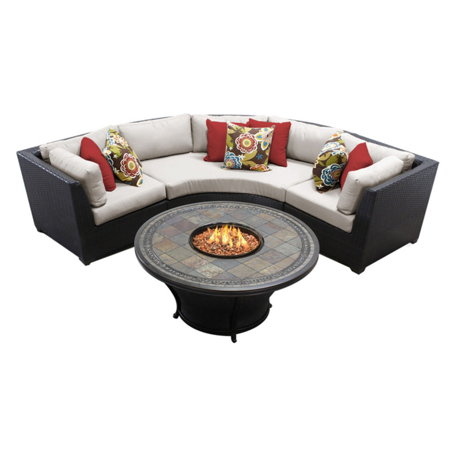 TK Classics Barbados Wicker 4 Piece Patio Conversation Set with Fire Pit Table and 2 Sets of Cushion Covers