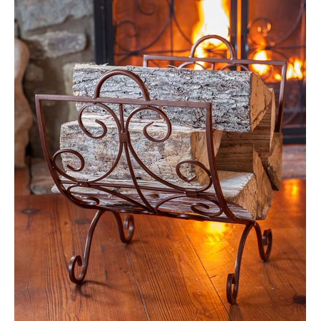 Crest Scrollwork Fireplace Log Holder