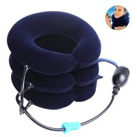 Cervical Neck Traction Collar Device for Neck Shoulder Back Head Pain Relief Inflatable Spine Alignment Pillow, Dark Blue