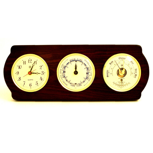 Bey-Berk Time Tide Wall Clock with Barometer and Thermometer by Bey-Berk