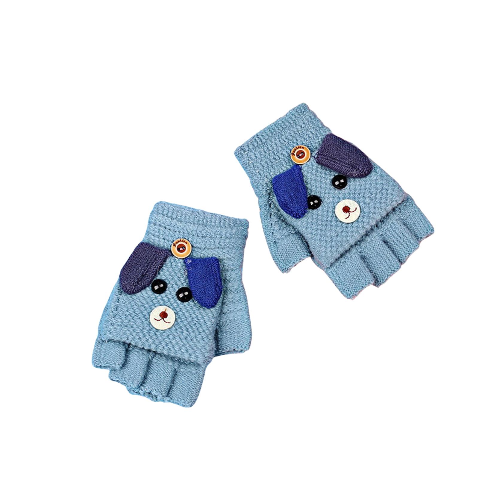Kids Mittens Gloves Half Fingers Soft Warm with button Flip Top 3-6 yrs old kids