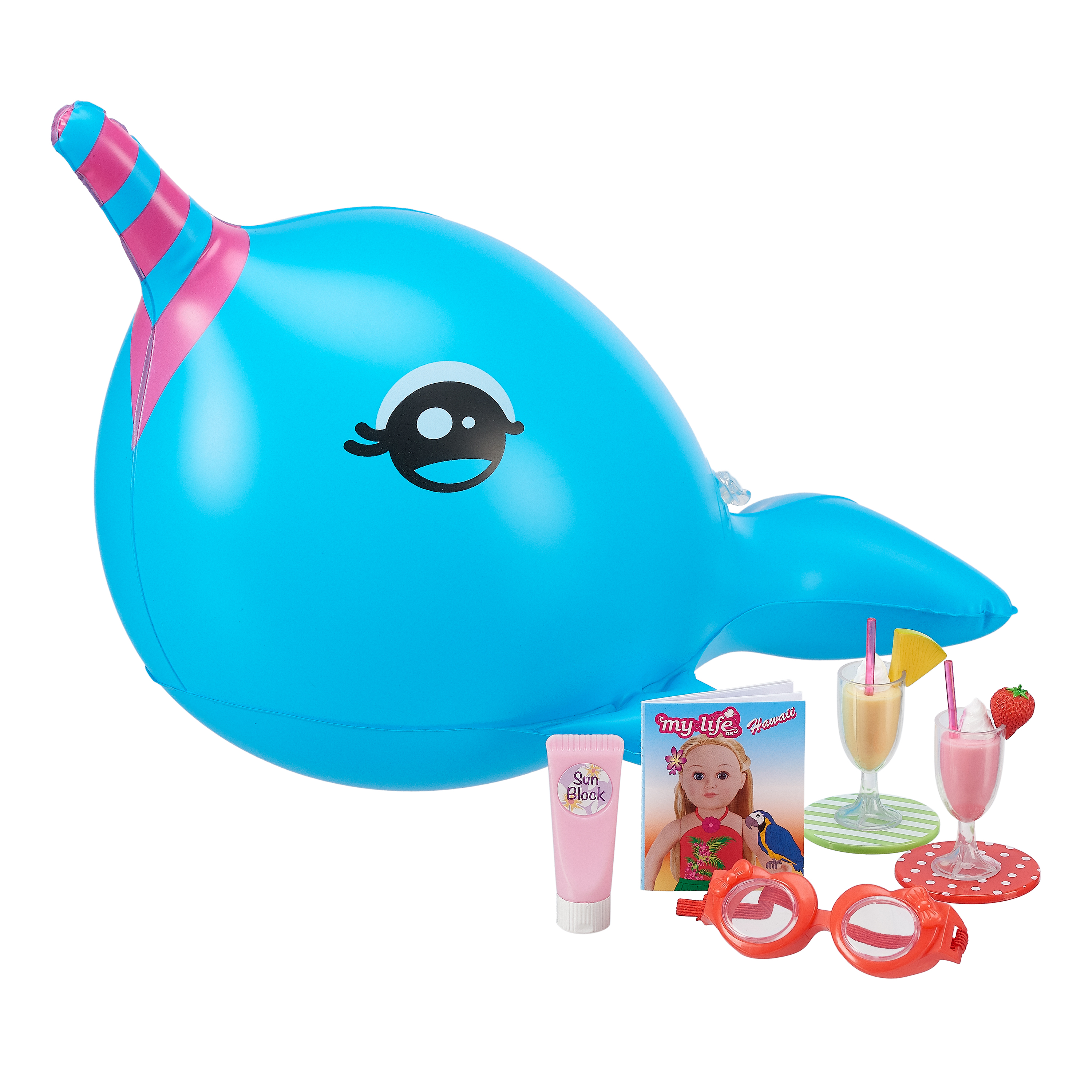 My Life As Narwhal Float Toy Accessories Play Set for 18-inch Dolls, 10 Pieces