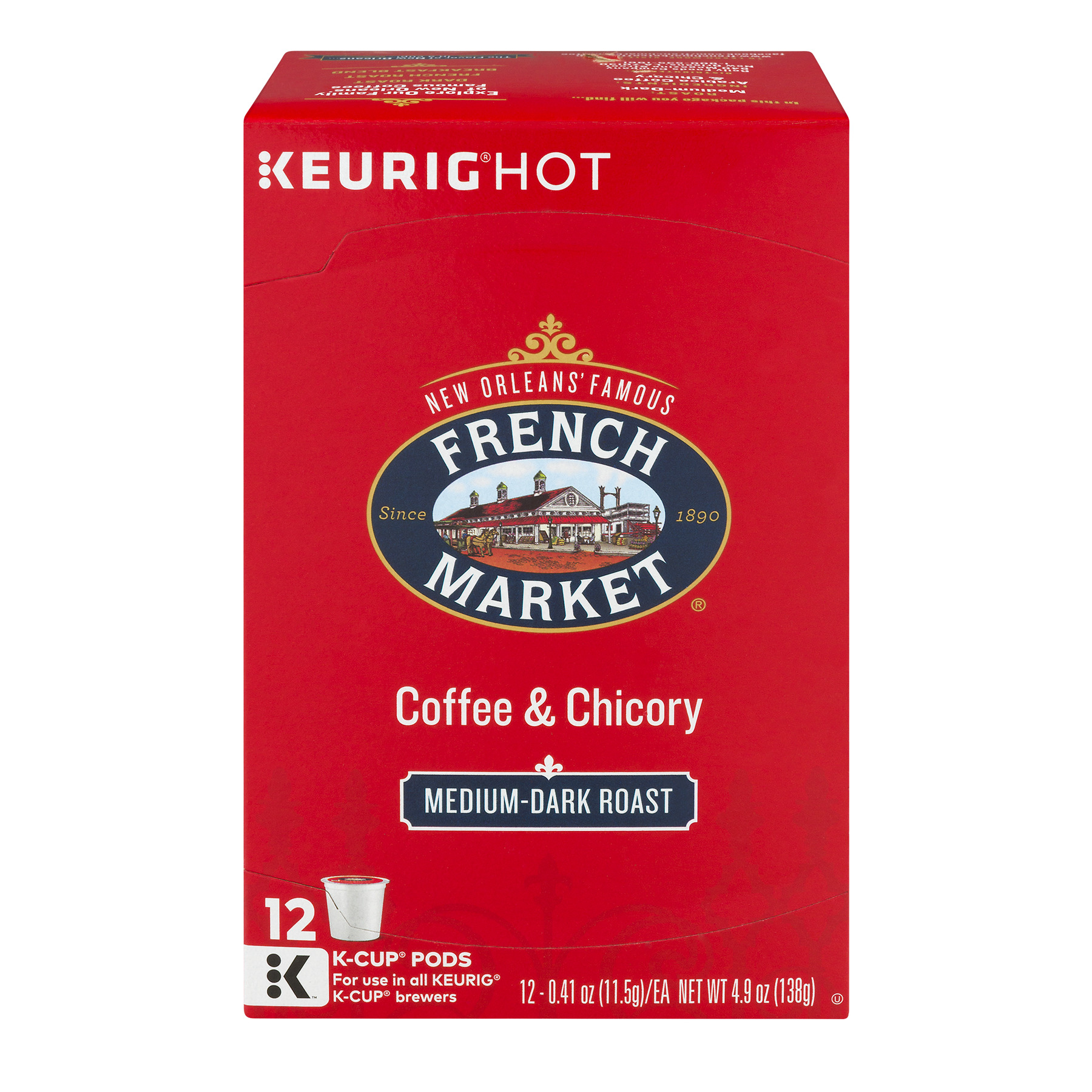 French Market Bolder Medium Dark Roast Coffee & Chicory Single Serve Cups, 0.41 oz, 12