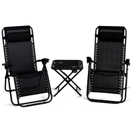 Magnificent Gymax 3Pc Zero Gravity Reclining Lounge Chairs Table Pillows Folding Portable Black Uwap Interior Chair Design Uwaporg