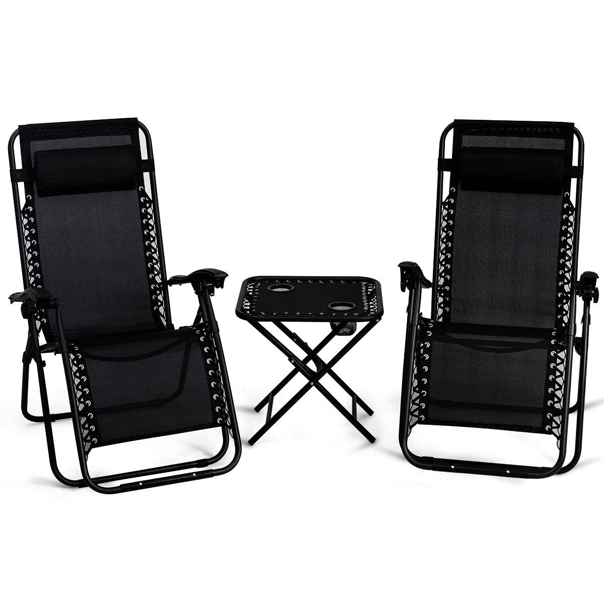 Gymax 3PC Zero Gravity Reclining Lounge Chairs Table Pillows Folding Portable Black