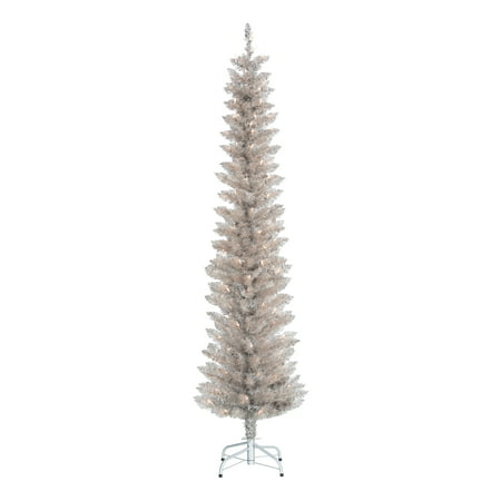 Holiday Time Pre-Lit Rose Gold Tinsel Christmas Tree, 6', Clear ()