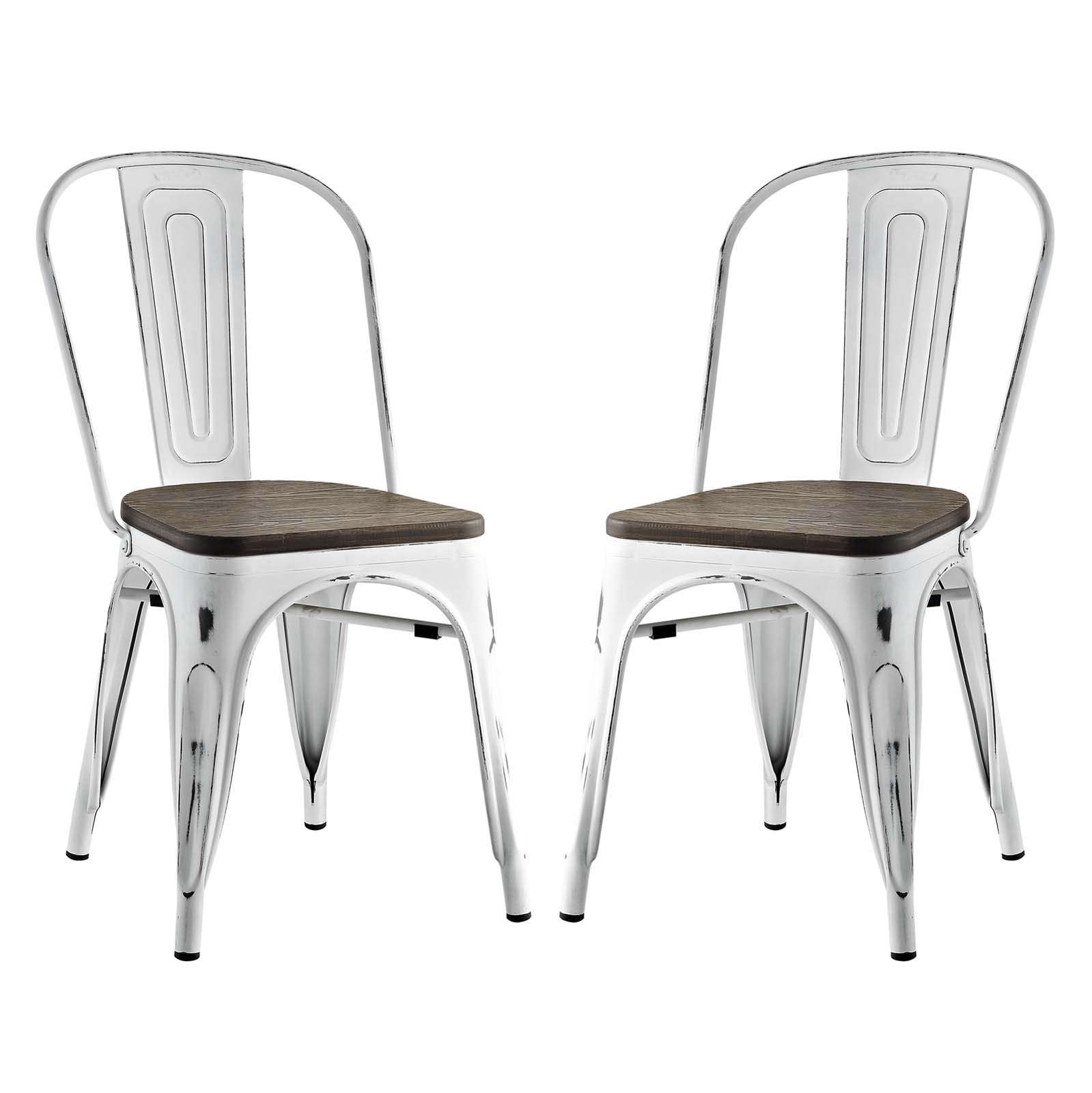 Modern Contemporary Urban Design Industrial Distressed Antique Vintage Style Kitchen Room Dining Chair ( Set of 2), White, Metal