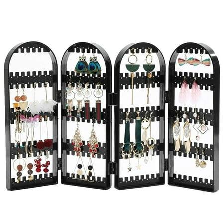 Foldable Earring Display Stand 4-Panel Jewelry Hanger Organizer Bracelets Necklace Holder, Black](Earring Hanger)