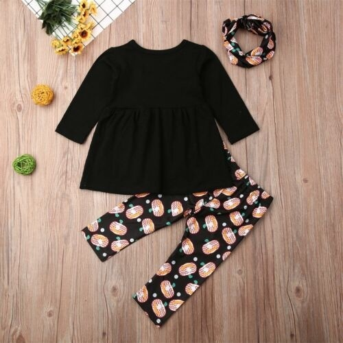 3PCS Toddler Baby Girl Floral Tops Dress Pants Dot Leggings Outfits Clothes Sets