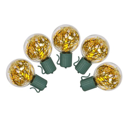 set of 25 gold led g40 tinsel christmas lights green wire