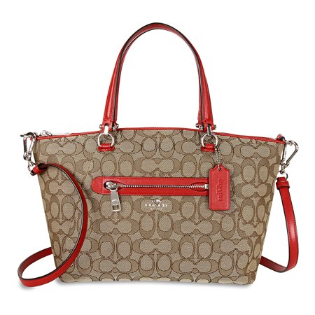Coach Prairie Signature Canvas Satchel   Khaki True Red