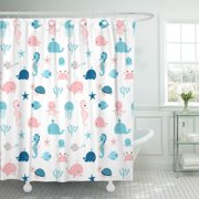 PKNMT Kids Cute Summer Sea Animals in Blue and Pink Polyester Shower Curtain 60x72 inches
