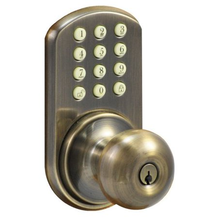 MiLocks HKK-01AQ Touchpad Electronic Door Knob, Antique Brass
