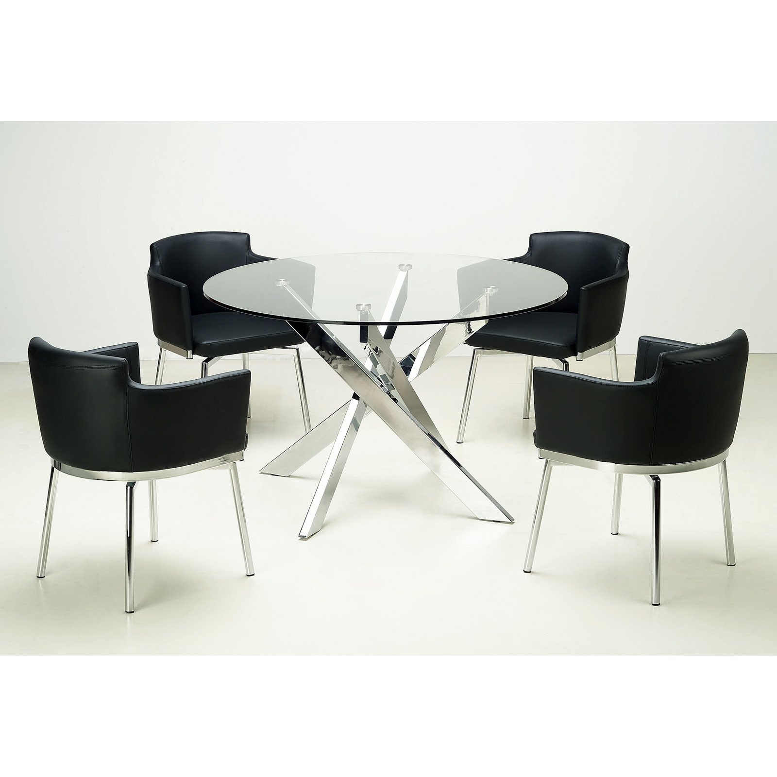 Ordinaire Chintaly Dusty 5 Piece Round Glass Dining Table Set   Walmart.com
