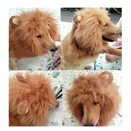 Generic Pet Costume Lion Mane Wig with Ears for Dog Cat Halloween Clothes Fancy Dress up (Light Brown, L) (Halloween Dog Costumes Amazon)