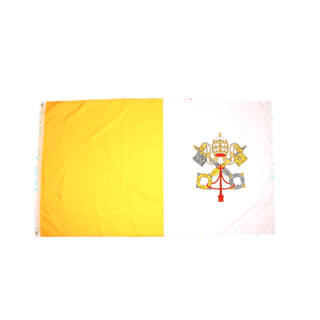 Vatican City Flag - 3x5 Foot Vatican City Flag Double Stitched  with Brass Grommets   3 by 5 Foot Premium Indoor Outdoor Polyester Banner Flag