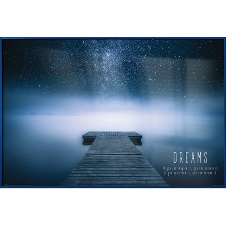 Dreams - Framed Motivational Poster / Print (If You Can Imagine It, You Can Achieve It…) (Lake, Mist, Stars) (Size: 36