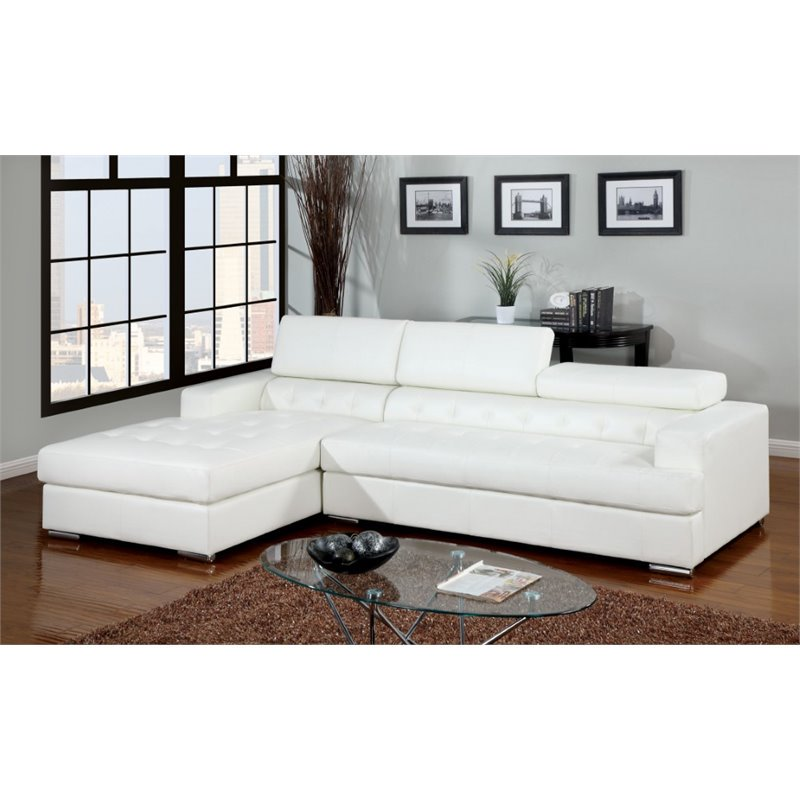 Furniture of America Contreras Leatherette Sectional in White