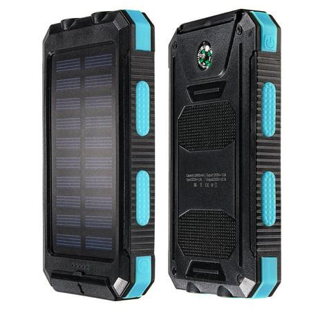 10000Mah Solar Charger Dual Usb Power Bank Phone W Flashlight Compass Black Blue