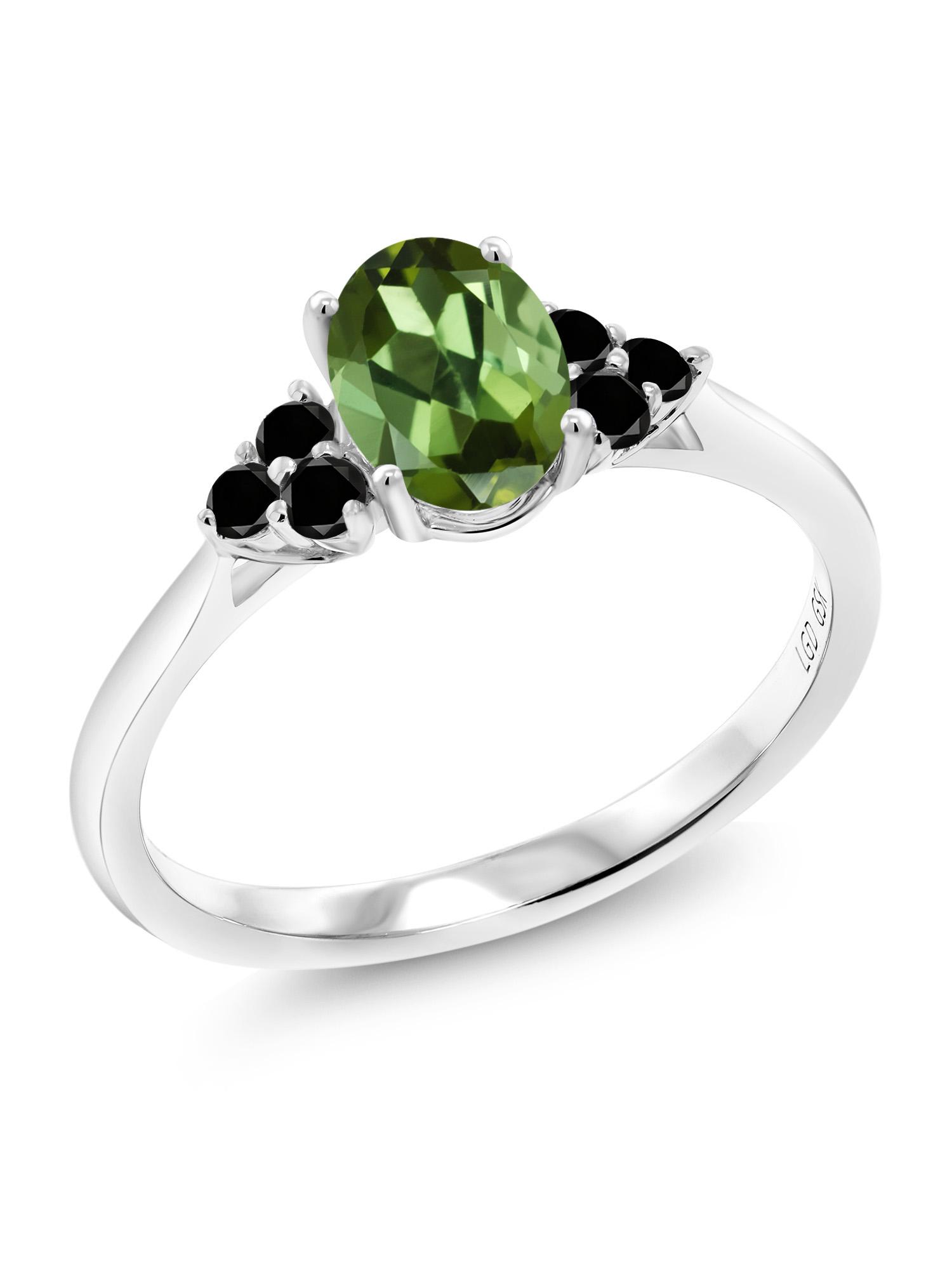 0.90 Ct Oval Green Tourmaline Black Diamond 10K White Gold Ring by