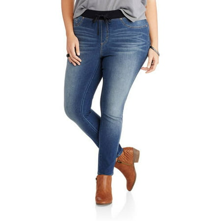 64221ed6b6465 Faded Glory - Women's Plus-Size French Terry Jeggings with Knit Waistband -  Walmart.com