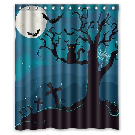 GreenDecor Halloween Waterproof Shower Curtain Set with Hooks Bathroom Accessories Size 60x72 inches - Coloriage Mandalas Halloween
