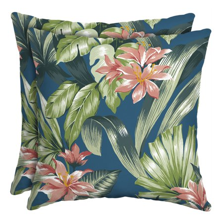 Better Homes & Gardens Teal Breezy Tropical 16 in. Square Outdoor Toss Pillow - Set of 2 Accessories Square Toss Pillow