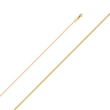 - 14k Yellow Solid Italian Gold 0.9mm Wheat Twisted Chain High Polish Necklace Size Available 16