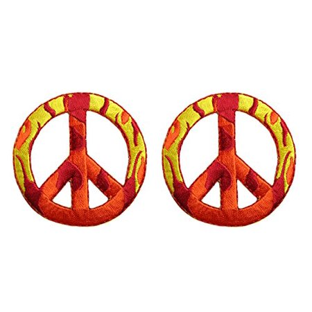 Altotux 2 PCS Camouflage Flame Peace Sign Self Adhesive Iron On Applique Patch (2 Flames (Self Adhesive Appliques)