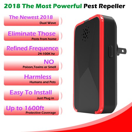 2018 MOST POWERFUL Ultrasonic Electromagnetic Pest Repeller WITH LED - Electronic Plug -In Pest Control Ultrasonic - Best Repellent for Cockroach, Rodents, Flies, Roaches, Ants, Mice,Spiders, Fleas (Pest Repeller Electromagnetic)