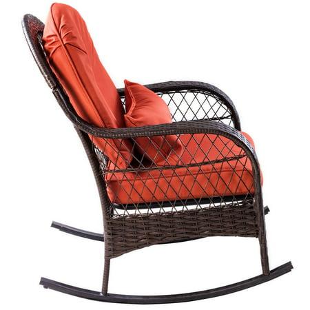 Gymax Patio Rattan Wicker Rocking Chair Porch Deck Rocker Outdoor Furniture W/ Cushion - image 8 of 10