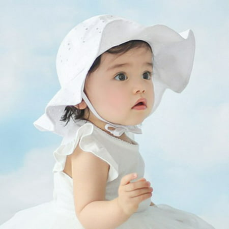 Lovely Baby Girls Summer Outdoor Bucket Hat Toddler Infant Soft Cotton Sun Cap White