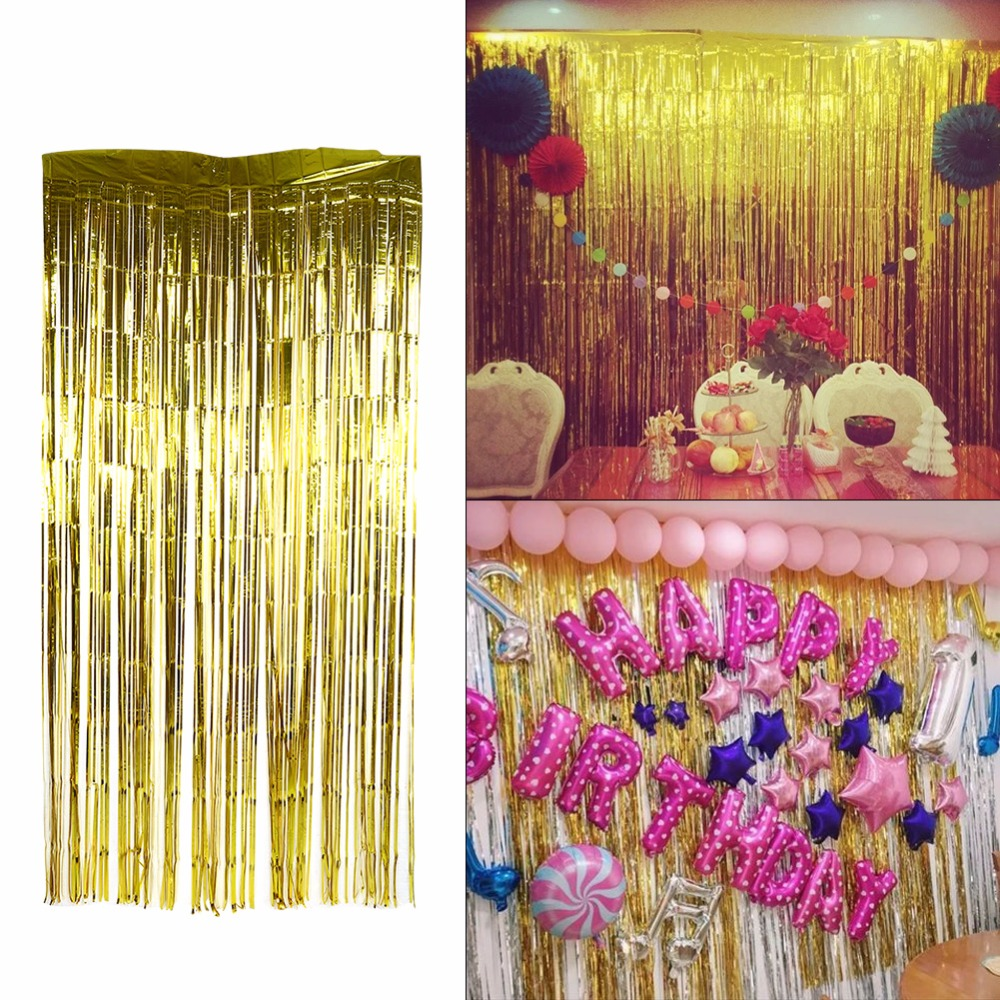 Estink 3.2 ft x 9.8 ft Metallic Tinsel Foil Fringe Curtains for Party Photo Backdrop Wedding Decor (Gold,1 pack)