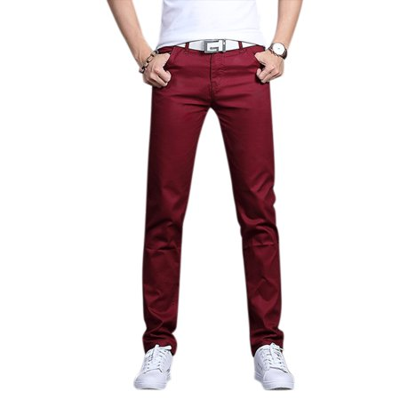 Men Concise Solid Color Casual Thin Pants Soft Cotton Slim Pencil Trousers Red wine 29